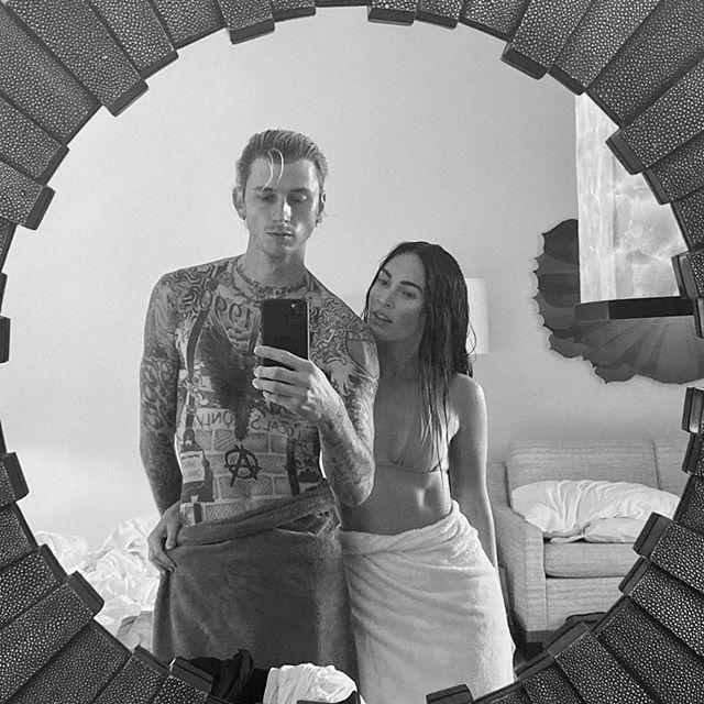 Machine Gun Kelly, left, and Megan Fox, right.
