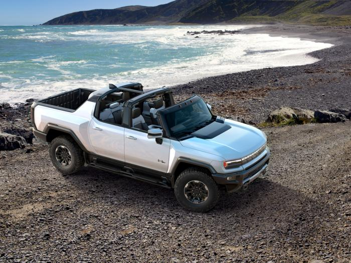 This undated photo provided by General Motors shows the 2022 GMC Hummer EV, an electric SUV that promises 1,000 horsepower via three electric motors