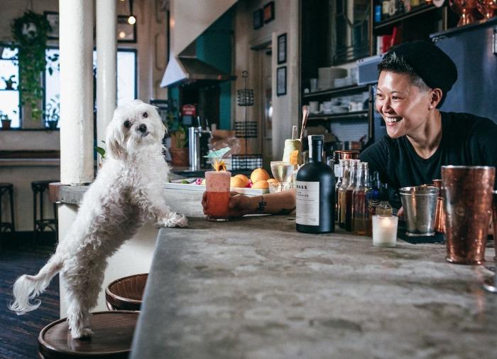 Fanny Chu with her dog, Bowie, after hours at Donna Cocktail Club. (October, 2020)