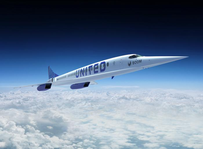 An artist's rendition of United Airlines Boom Supersonic Overture jet.
