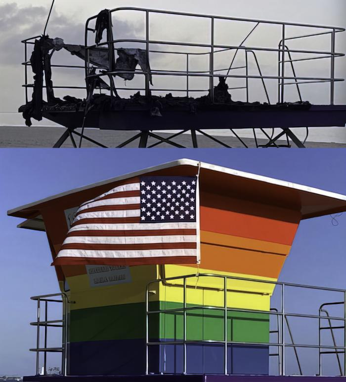 (Upper) The burned remains of a rainbow-colored lifeguard tower. right. (Lower) The rainbow-colored lifeguard tower prior to be torched