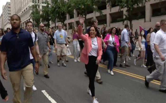 Kamala Harris became the first sitting vice president to walk in a Pride event on June 12.