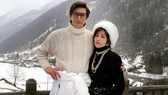 """Adam Driver and Lady Gaga in a promotional photo for """"House of Gucci"""""""