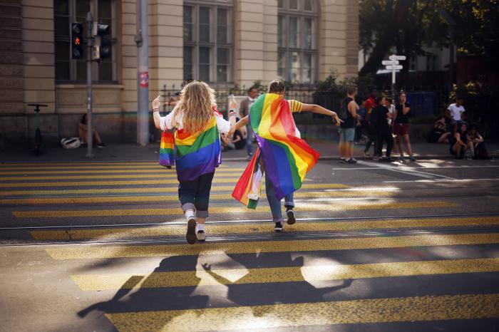 """People take part in the Zurich Pride parade in Zurich, Switzerland, with the slogan """"Dare. Marriage for all, now!"""""""